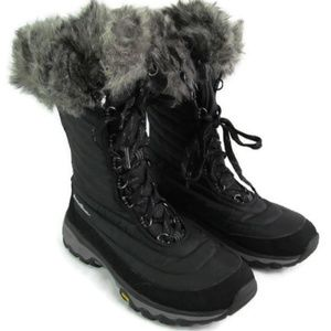 Eddie Bauer Black Winter Boot With Faux Fur